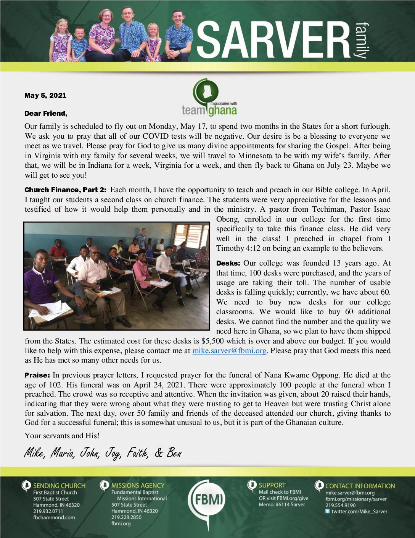 thumbnail of Mike Sarver April 2021 Prayer Letter