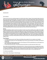 Mshama Kinyonga Prayer Letter: Thank You for Your Prayers