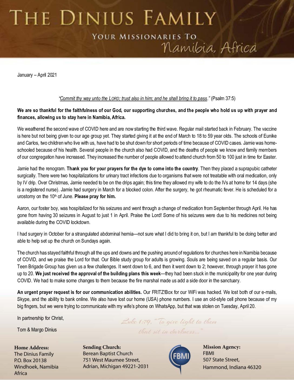thumbnail of Tom Dinius Jan-Apr 2021 Prayer Letter