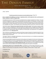 Tom and Margo Dinius Prayer Letter: We Are Thankful!