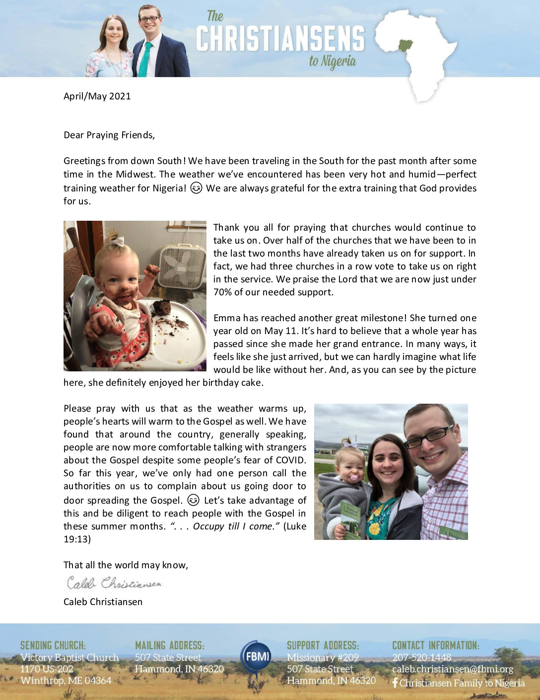 thumbnail of Caleb Christiansen Apr-May 2021 Prayer Letter