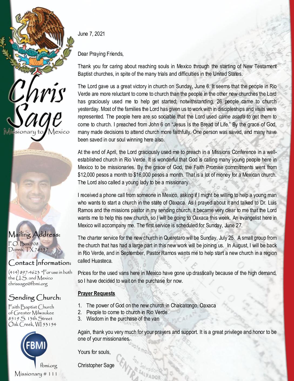 thumbnail of Christopher Sage June 2021 Prayer Letter