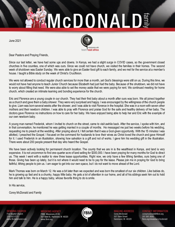 thumbnail of Corey McDonald June 2021 Prayer Letter – Revision