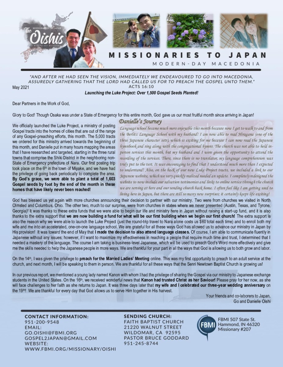 Go Oishi May 2021 Prayer Letter - FBMI
