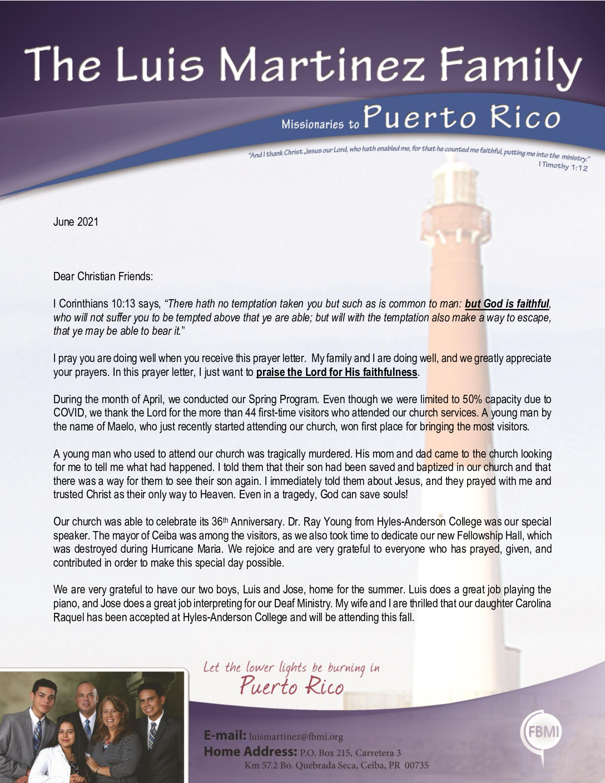 thumbnail of Luis Martinez June 2021 Prayer Letter