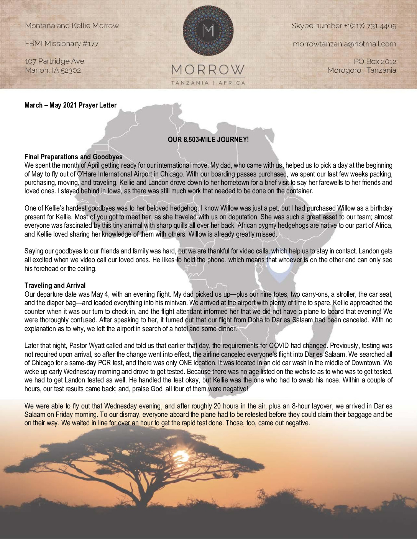 thumbnail of Montana Morrow Mar-May 2021 Prayer Letter