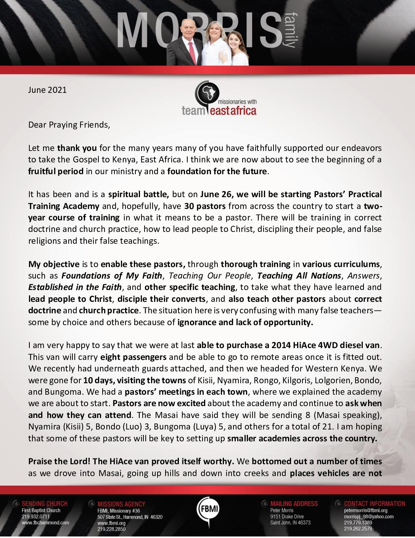 thumbnail of Peter Morris June 2021 Prayer Letter – 2 Revised
