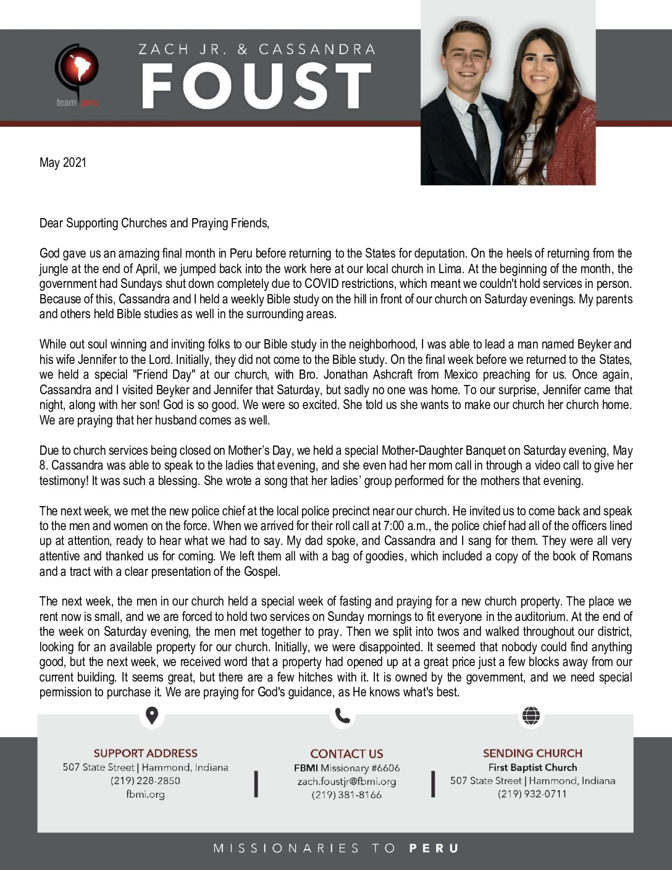 thumbnail of Zach Foust Jr. May 2021 Prayer Letter – Revised