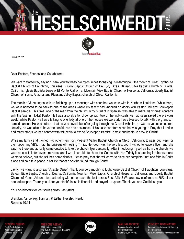 thumbnail of Brandon Heselschwerdt June 2021 Prayer Letter