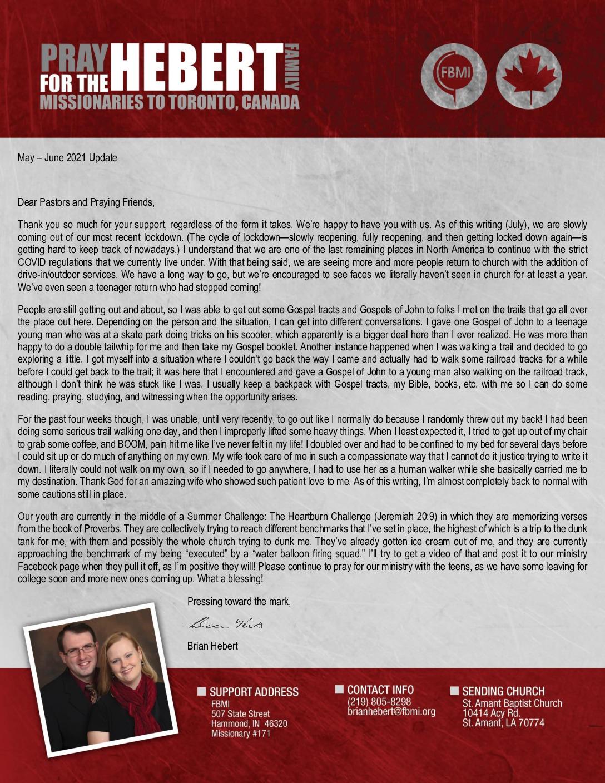 thumbnail of Brian Hebert May-Jun 2021 Prayer Letter