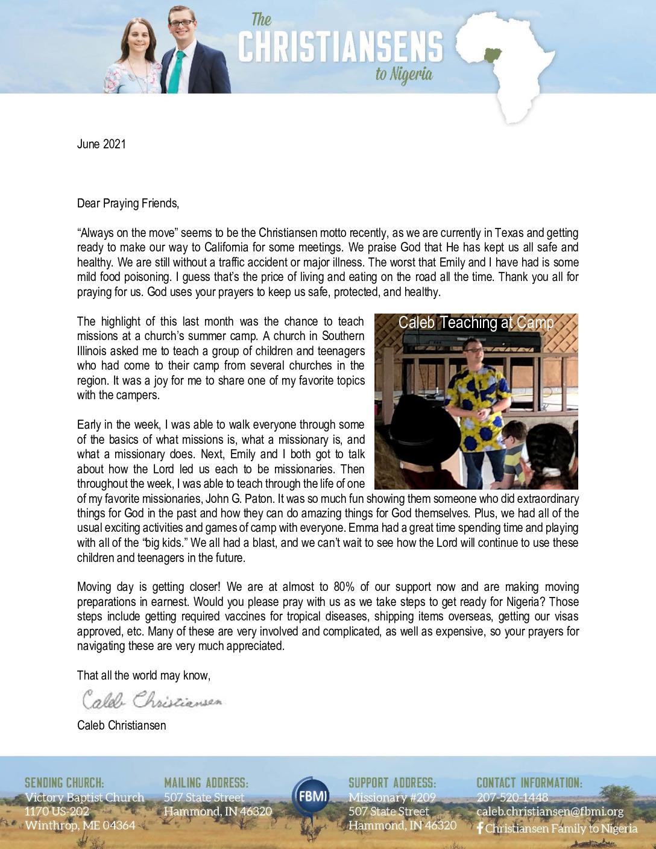 thumbnail of Caleb Christiansen June 2021 Prayer Letter