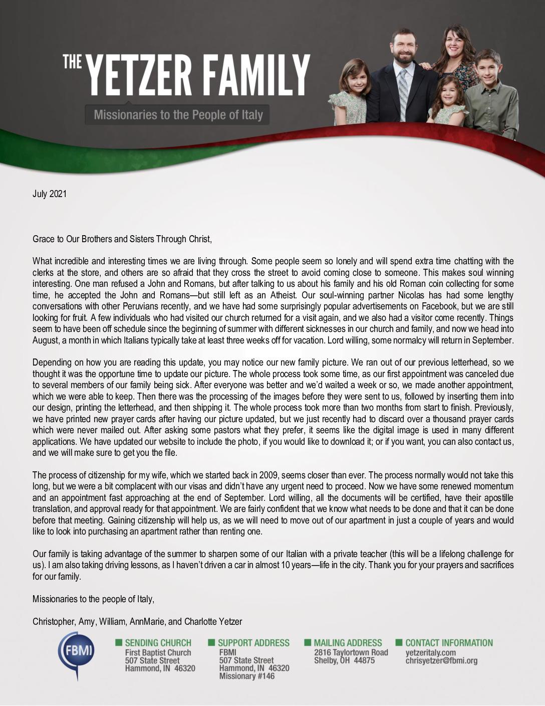 thumbnail of Christopher Yetzer July 2021 Prayer Letter