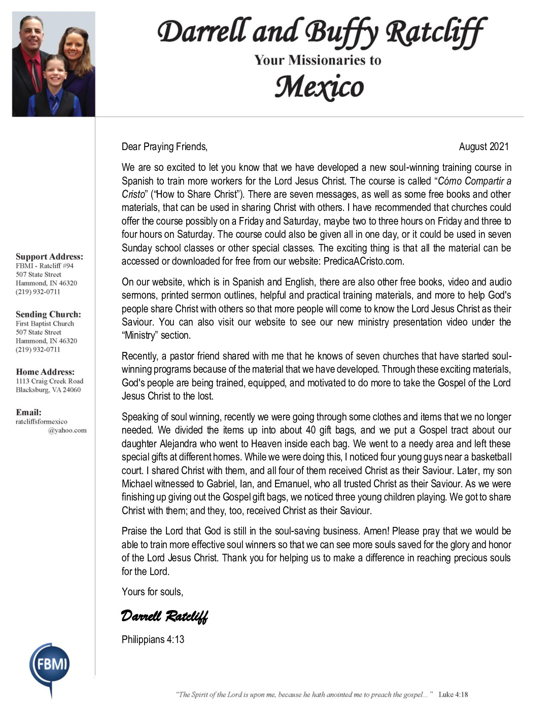 thumbnail of Darrell Ratcliff August 2021 Prayer Letter – Revised