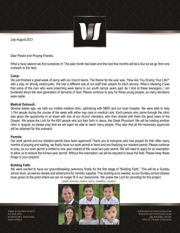 thumbnail of Jerry Wyatt III Jul-Aug 2021 Prayer Letter – Revised
