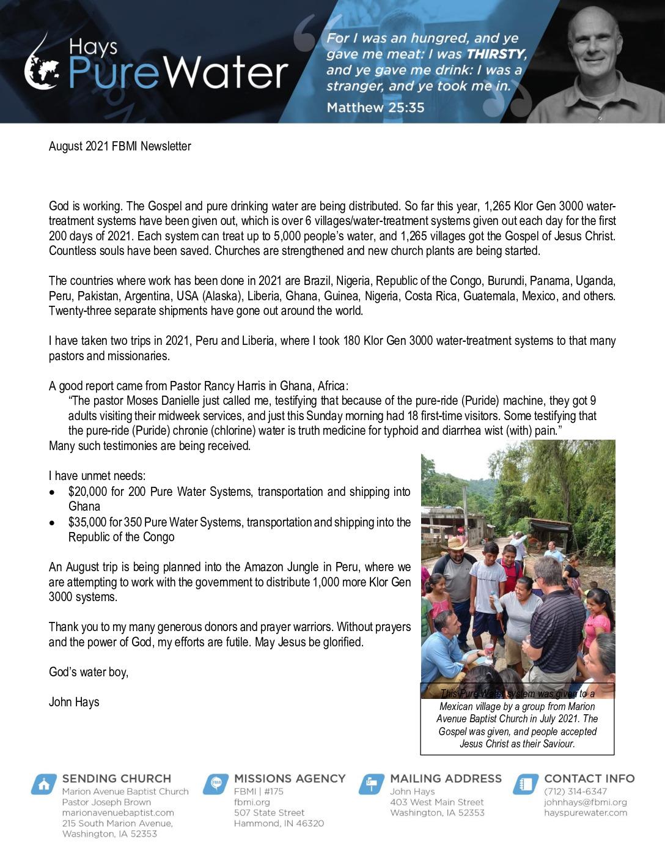 thumbnail of John Hays August 2021 Prayer Letter