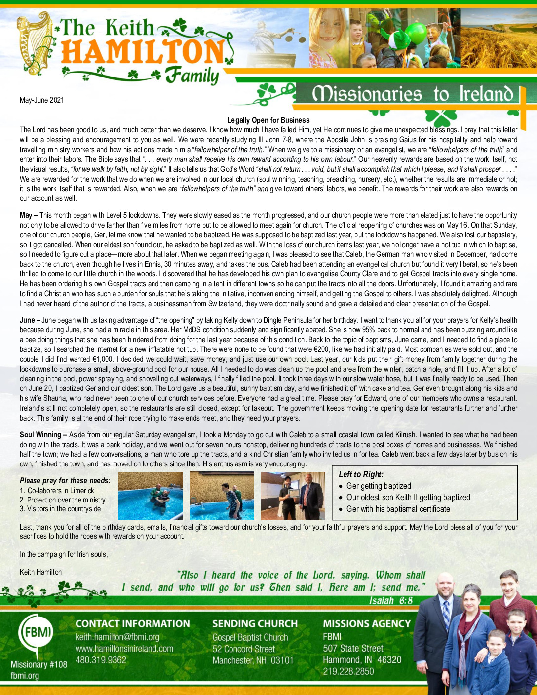 thumbnail of Keith Hamilton May-Jun 2021 Prayer Letter – Updated