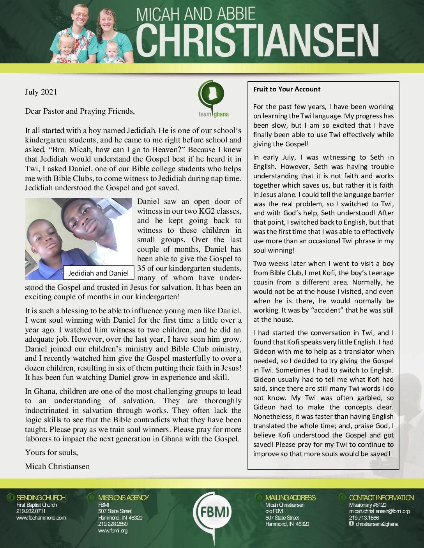 thumbnail of Micah Christiansen July 2021 Prayer Letter – Revised