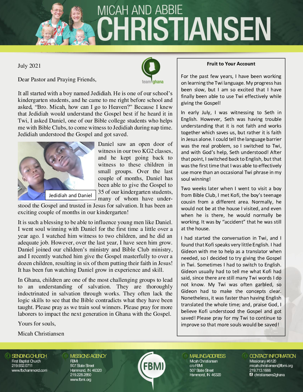 thumbnail of Micah Christiansen July 2021 Prayer Letter