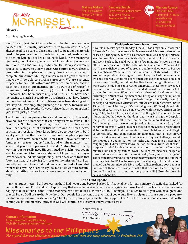thumbnail of Mike Morrissey July 2021 Prayer Letter