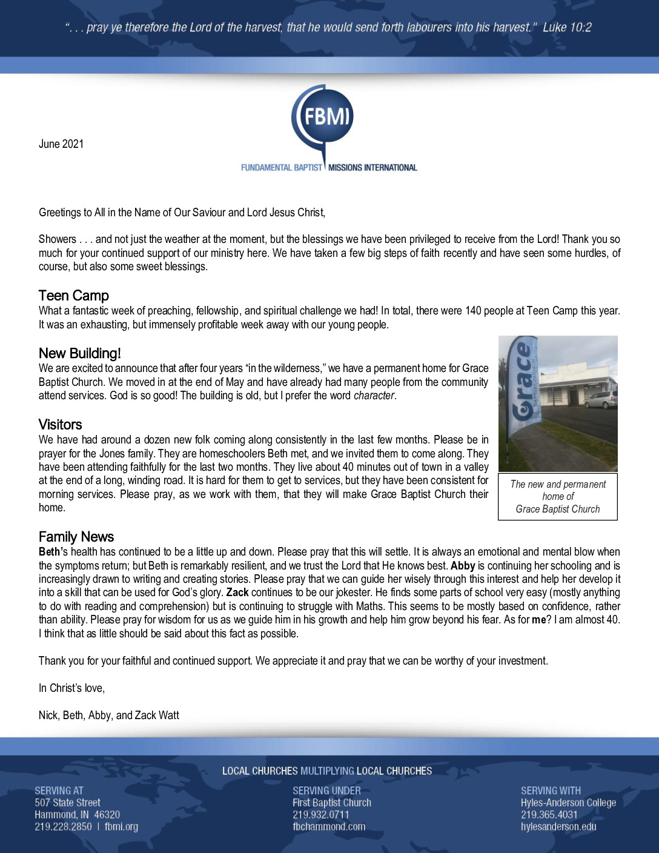 thumbnail of Nick Watt June 2021 Prayer Letter