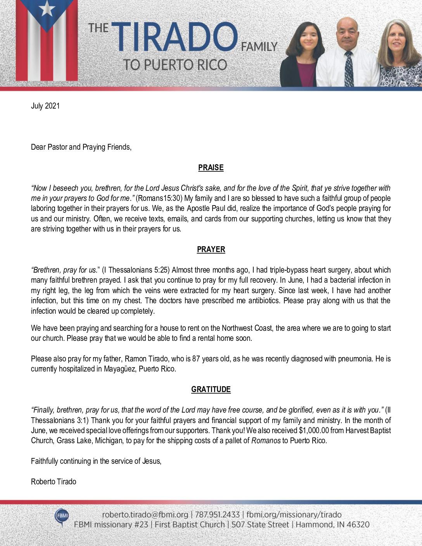 thumbnail of Roberto Tirado July 2021 Prayer Letter – 2