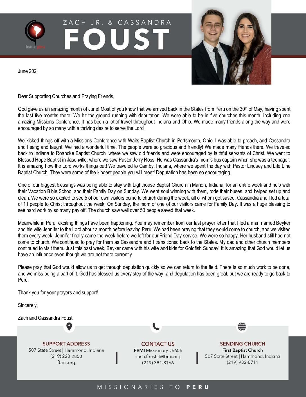 thumbnail of Zach Foust Jr. June 2021 Prayer Letter