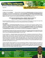 Fisa Mihy-Mihyndu Prayer Letter: Souls Saved, Baptism, Membership, Discipleship, and Church Building