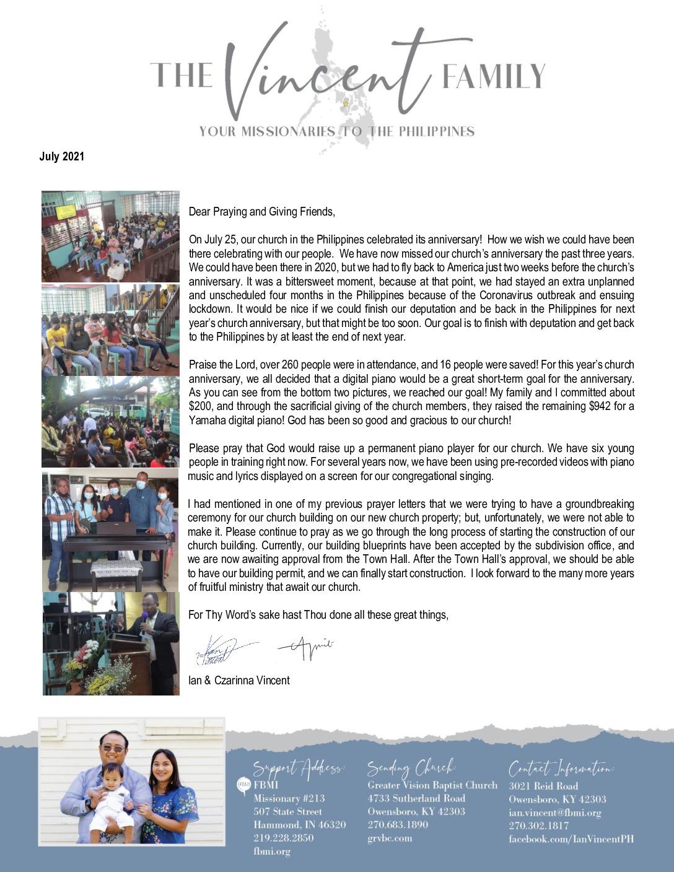 thumbnail of Ian Vincent July 2021 Prayer Letter