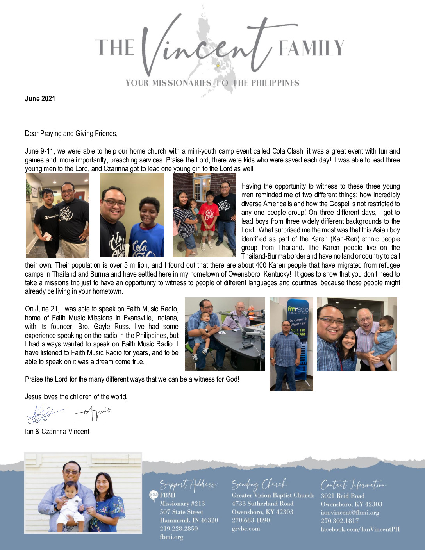 thumbnail of Ian Vincent June 2021 Prayer Letter