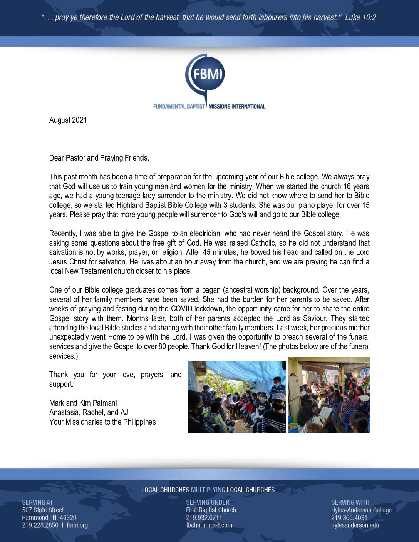 thumbnail of Mark Palmani August 2021 Prayer Letter