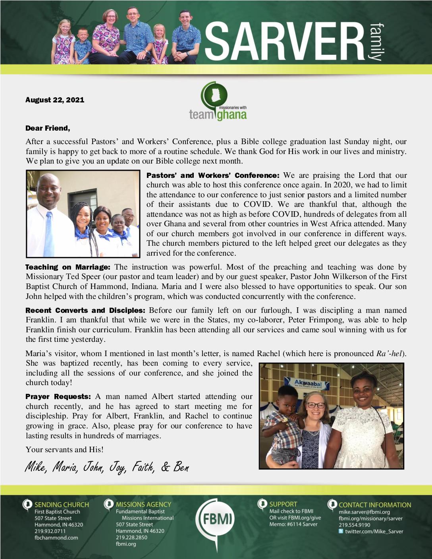 thumbnail of Mike Sarver August 2021 Prayer Letter
