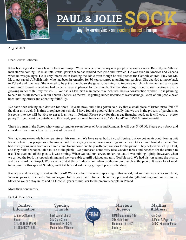 thumbnail of Paul Sock August 2021 Prayer Letter