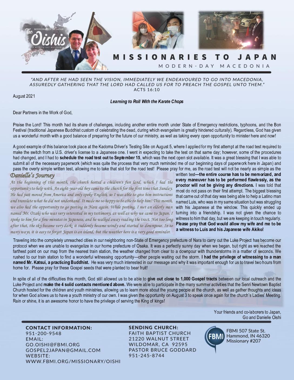 thumbnail of Go Oishi August 2021 Prayer Letter
