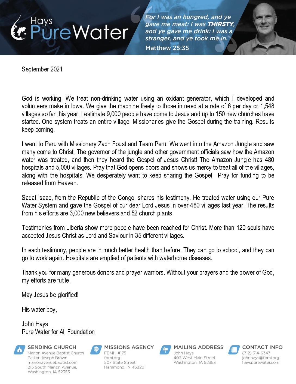 thumbnail of John Hays September 2021 Prayer Letter – Revised