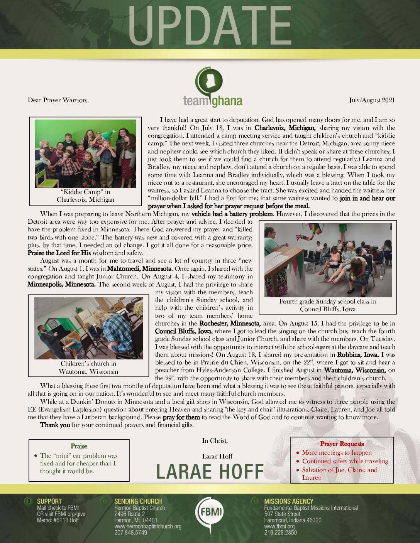 thumbnail of Larae Hoff Jul-Aug 2021 Prayer Letter – Revision