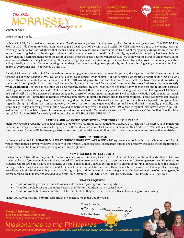 thumbnail of Mike Morrissey September 2021 Prayer Letter