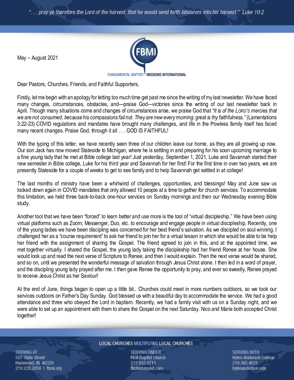 thumbnail of Phillip Powless May-Aug 2021 Prayer Letter