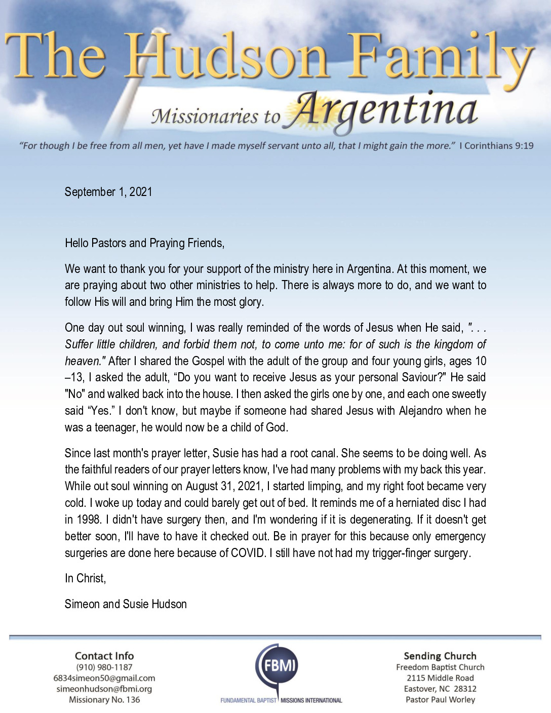 thumbnail of Simeon Hudson September 2021 Prayer Letter