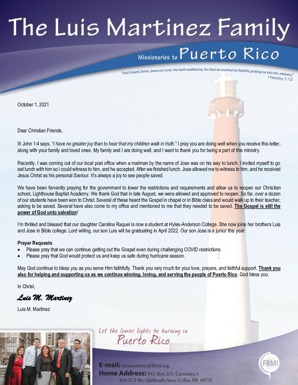 thumbnail of Luis Martinez October 2021 Prayer Letter