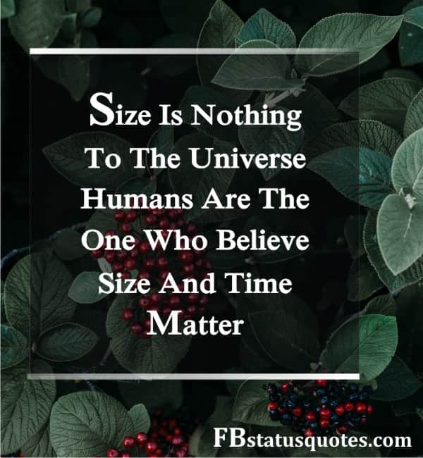 Size Is Nothing To The Universe