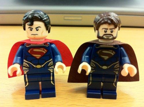 Superman and Jor El Side by Side