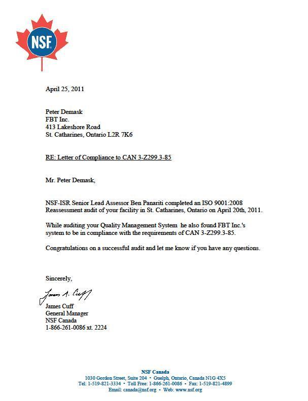 z299-comliance-letter