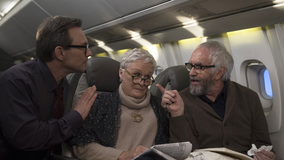 Left to right: Christian Slater as Nathaniel, Glenn Close as Joan and Jonathan Pryce as Joe Photo by Graeme Hunter, Courtesy of Sony Pictures Classics