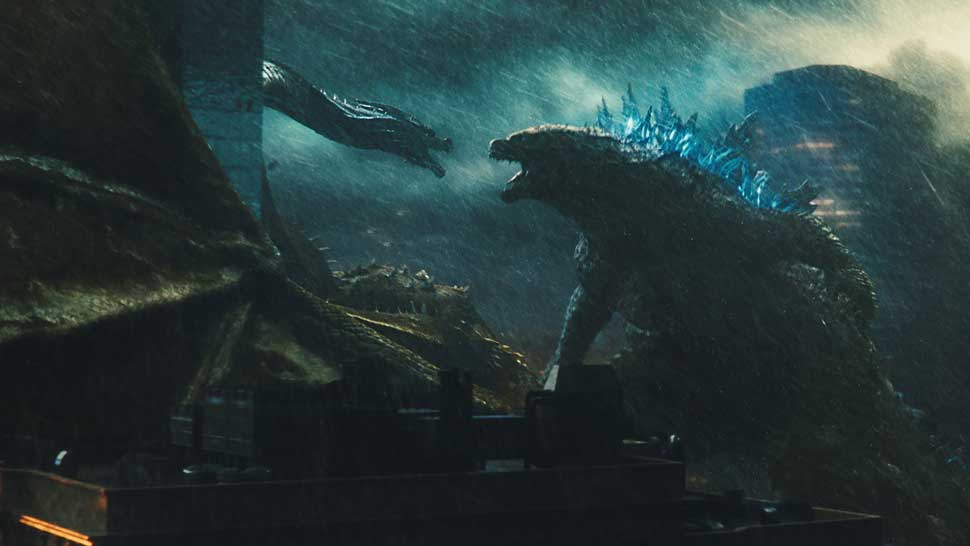 """(L-R) KING GHIDORAH and GODZILLA in Warner Bros. Pictures' and Legendary Pictures' action adventure """"GODZILLA: KING OF THE MONSTERS,"""" a Warner Bros. Pictures release."""