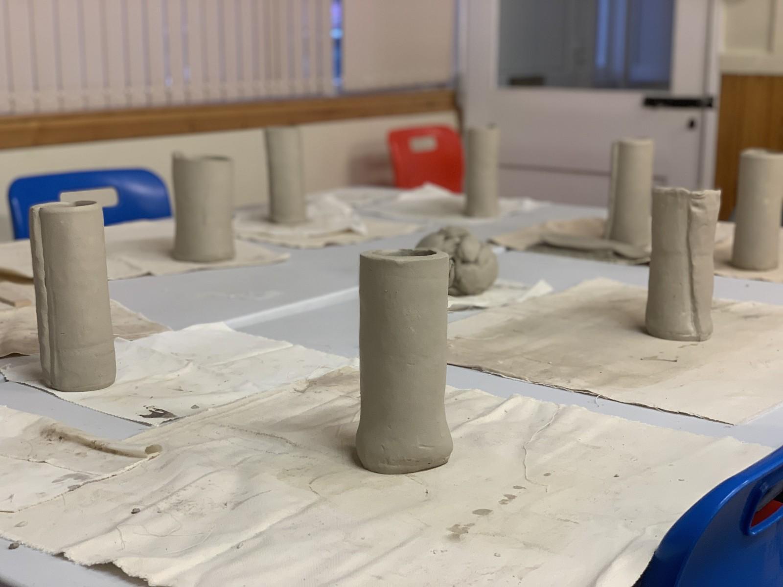 Pots standing upright