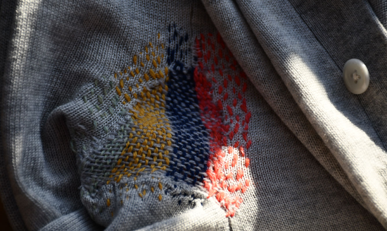 Front side of darn with coloured wools
