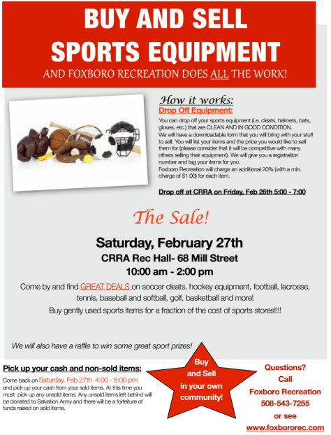 Recreation Department Sports Sale