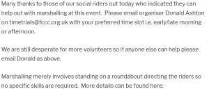 June 17th 12 Hour TT Volunteers