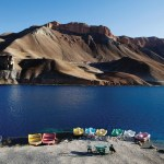 Swan paddle boats at the edge of one of the six lakes that make up Band-E-Amir National Park. Photo: Paula Bronstein
