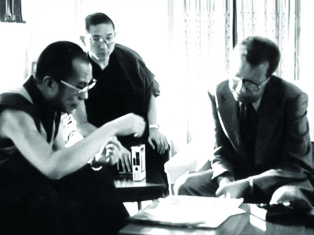 Interviewing the Dalai Lama in the late 60s.
